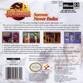 Castlevania: Aria of Sorrow - Box - Back