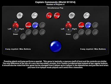 Captain Commando - Arcade - Controls Information