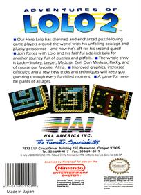 Adventures of Lolo 2 - Box - Back