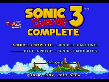 Sonic The Hedgehog 3 Complete - Screenshot - Game Title