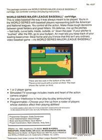 World Series Major League Baseball - Box - Back
