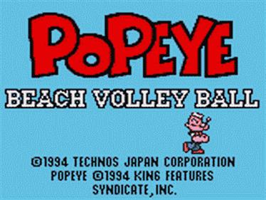 Popeye Beach Volley Ball - Screenshot - Game Title