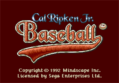Cal Ripken Jr. Baseball - Screenshot - Game Title