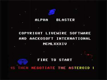 Alpha Blaster - Screenshot - Game Select