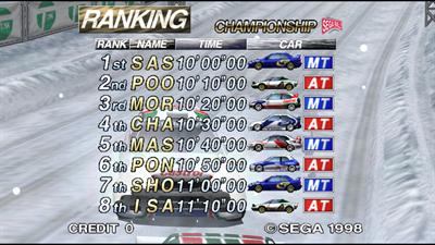 Sega Rally 2 Championship - Screenshot - High Scores