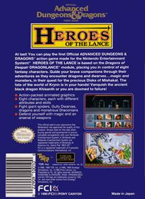 Heroes of the Lance - Box - Back