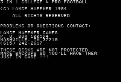 3 in 1 College & Pro Football - Screenshot - Game Title
