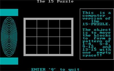 The 15 Puzzle - Screenshot - Game Title