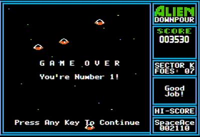 Alien Downpour - Screenshot - Game Over