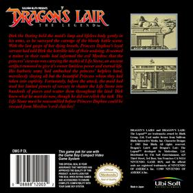 Dragon's Lair: The Legend - Box - Back