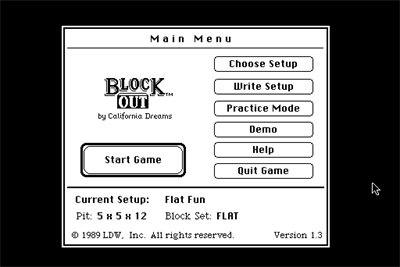 Blockout - Screenshot - Game Select