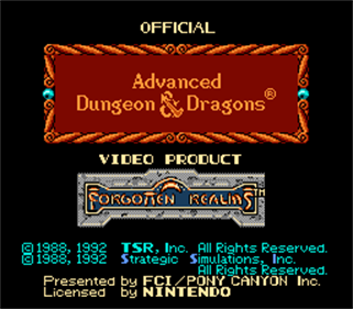 Advanced Dungeons & Dragons: Hillsfar - Screenshot - Game Title