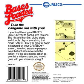 Bases Loaded for Game Boy - Box - Back