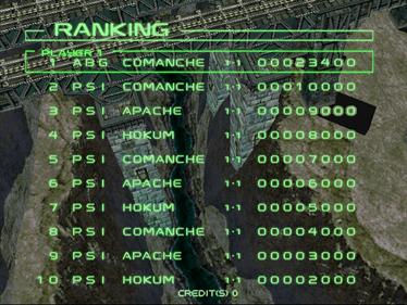 Zero Gunner 2 - Screenshot - High Scores