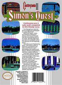 Castlevania II: Simon's Quest - Box - Back