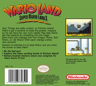Wario Land: Super Mario Land 3 - Box - Back - Reconstructed