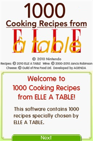 1000 Cooking Recipes from Elle a Table - Screenshot - Game Title