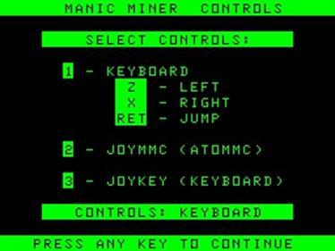Manic Miner  - Screenshot - Game Select
