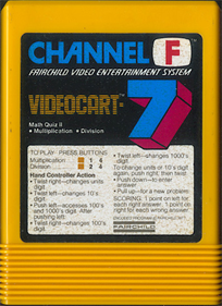 Videocart-7: Math Quiz II  (Multiplication & Division) - Cart - Front