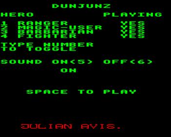 DunJunz - Screenshot - Game Select
