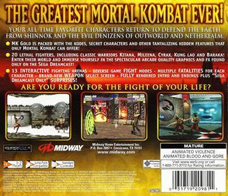 Mortal Kombat Gold - Box - Back