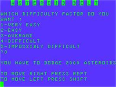 Asteroid Belt - Screenshot - Game Title