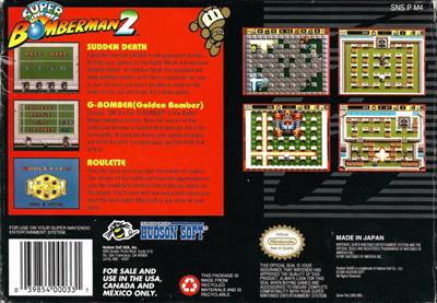 Super Bomberman 2 - Box - Back
