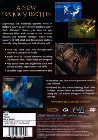 Baldur's Gate: Dark Alliance - Box - Back