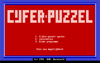 Cijfer-Puzzel - Screenshot - Game Title