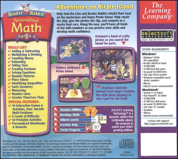 Reader Rabbit Personalized Math Ages 6-9 Details