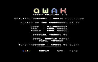 QWAK 128 - Screenshot - Game Title