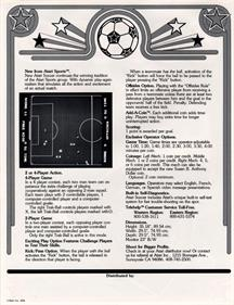 Atari Soccer - Advertisement Flyer - Back