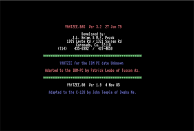 Yahtzee - Screenshot - Game Title