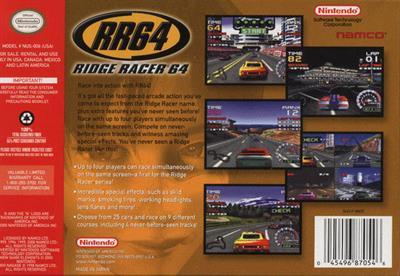 RR64: Ridge Racer 64 - Box - Back