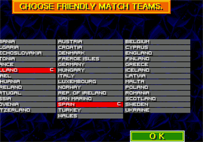 Championship Soccer '94 - Screenshot - Game Select
