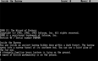 Zork II: The Wizard of Frobozz - Screenshot - Game Title