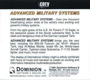 Advanced Military Systems - Box - Back
