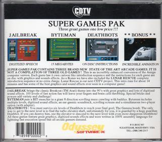 Super Games Pak - Box - Back