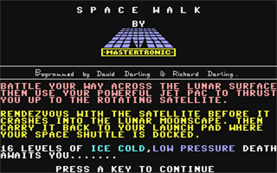 Space Walk (Mastertronic) - Screenshot - Game Title
