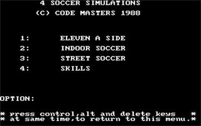 4 Soccer Simulators - Screenshot - Game Select