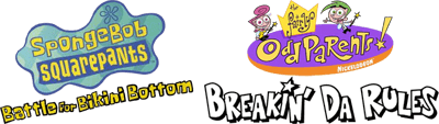 2 Games in 1: SpongeBob SquarePants: Battle for Bikini Bottom + The Fairly OddParents!: Breakin' da Rules - Clear Logo