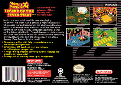 Super Mario RPG: Legend of the Seven Stars - Box - Back - Reconstructed
