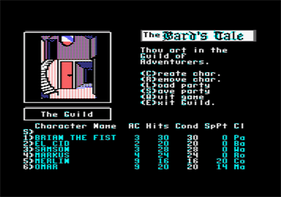 The Bard's Tale: Tales of the Unknown - Screenshot - Game Select