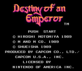 Destiny of an Emperor - Screenshot - Game Title