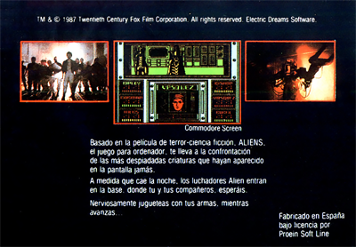 Aliens: The Computer Game - Box - Back