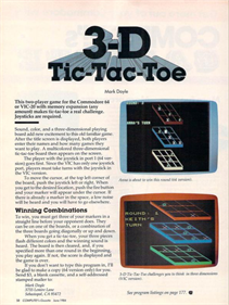 3D Tic-Tac-Toe (COMPUTE! Publications, Inc.) - Advertisement Flyer - Front