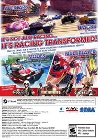 Sonic & All-Stars Racing Transformed - Fanart - Box - Back