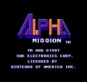 Alpha Mission - Screenshot - Game Title