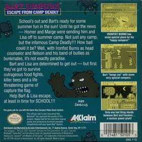Bart Simpson's Escape from Camp Deadly - Box - Back