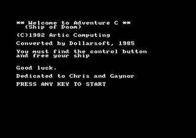 Adventure C: Ship of Doom - Screenshot - Game Title